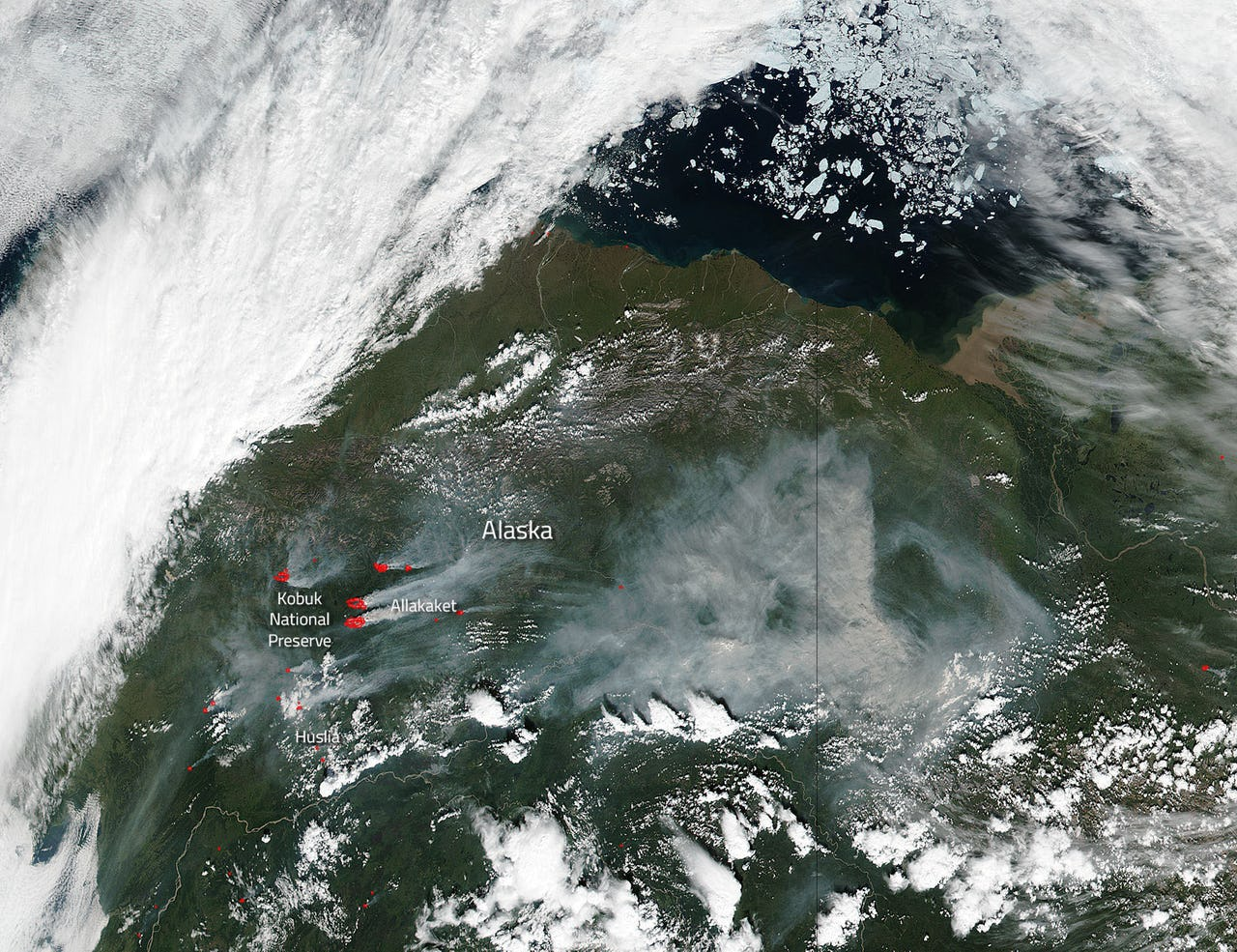 Satellite image showing wildfire in Alaska in 2016