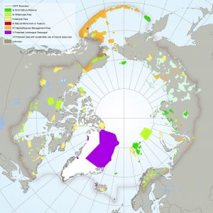 Arctic map showing its protected areas