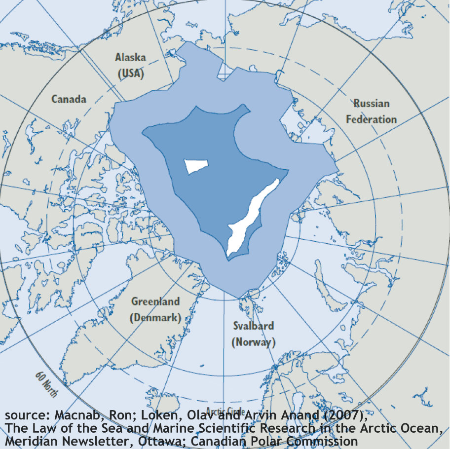 Map showing the Arctic