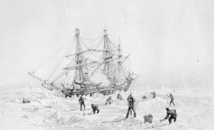 Black and white painting of HMS Terror