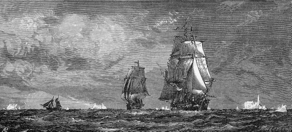 Black and white painting of three ships