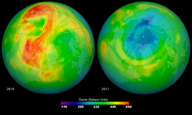 Images of Ozone hole over Arctic