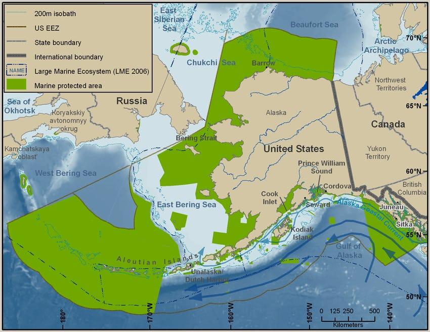 Map of waters surrounding Alaska