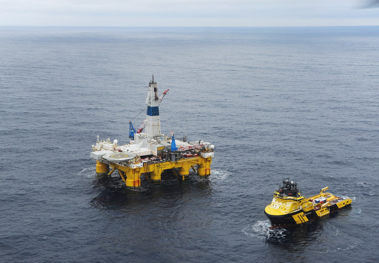 Drilling rig in open water