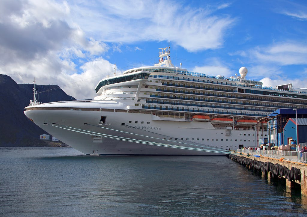 Cruise liner in small harbour