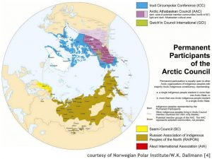 Map showing permanent participants of the Arctic Council