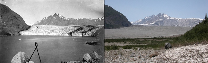 Two images showing the melting of the Carroll glacier