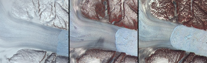 Three satellite images of ice melting in Greenland