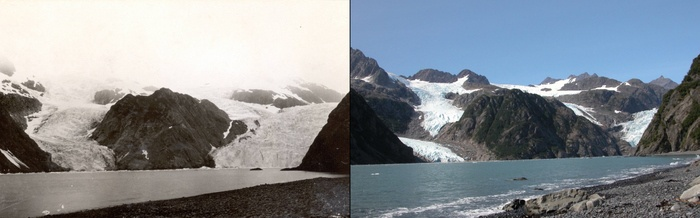 Two images showing the melting of the Holgate glacier