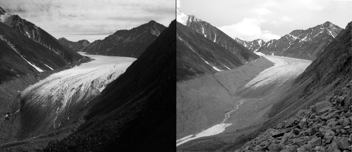 Two black and white images showing the melting of the McCall glacier