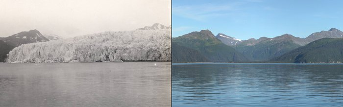 Two images showing the melting of the McCarty glacier