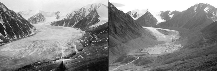 Two black and white images showing the melting of the Okpilak glacier