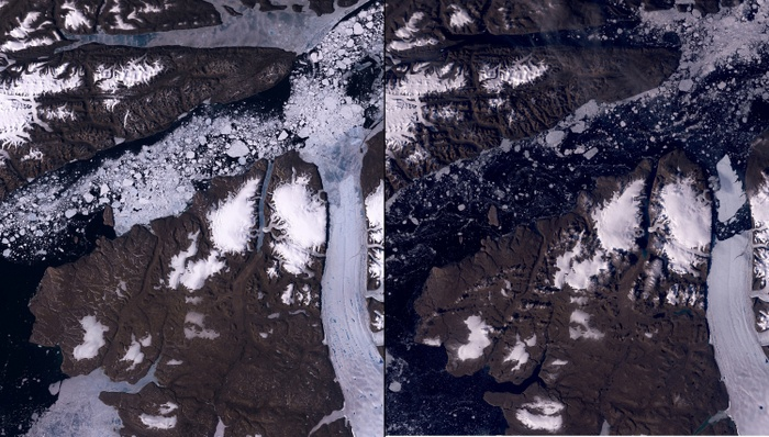 Two images showing the melting of the Petermann Glacier