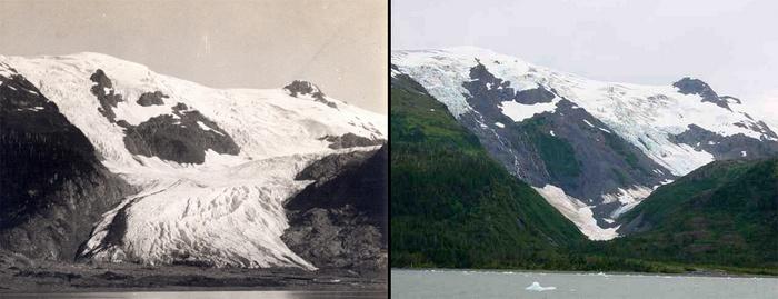 Glacier melt comparison in Alaska