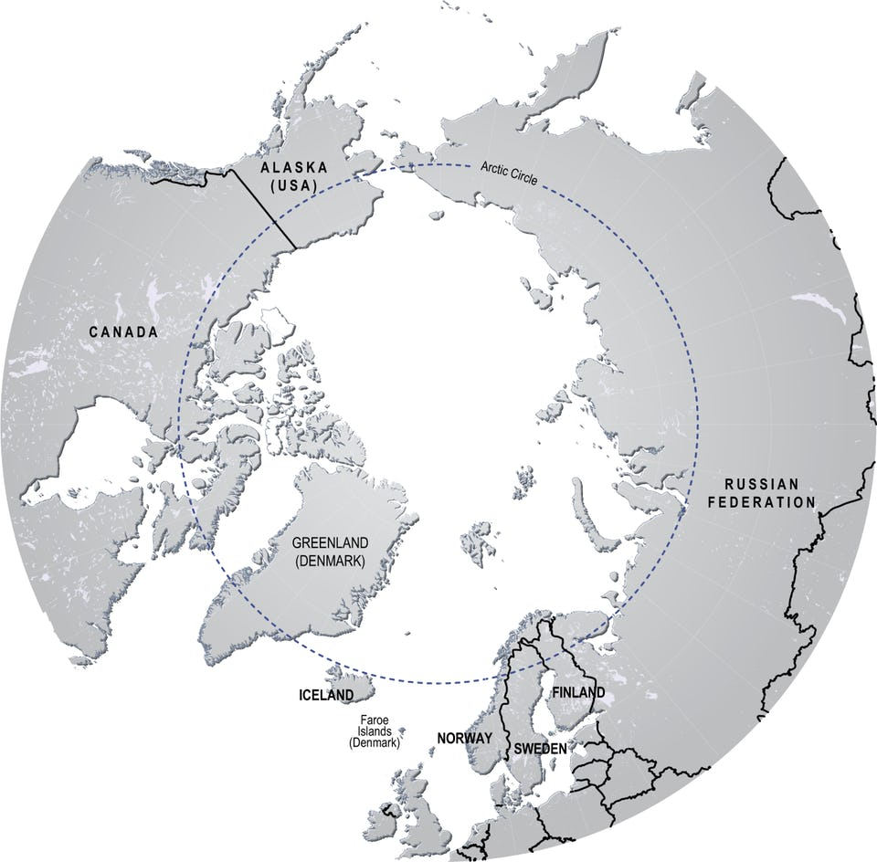 black and white map of the Arctic