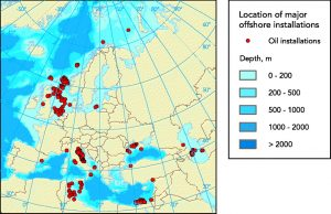 Map of Europe's major offshore locations