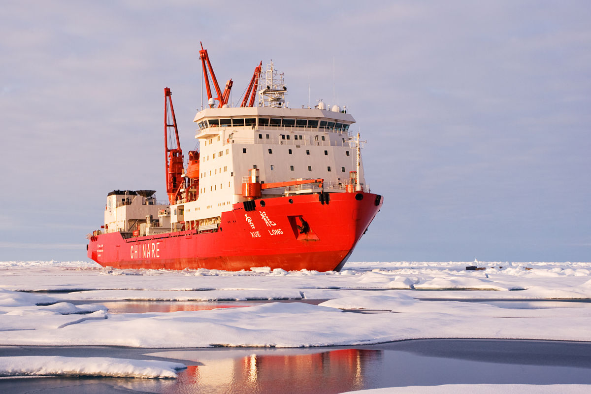 Chinese icebreaker navigating through ice