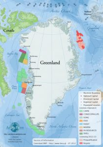 Map of Greenland including allocated oil and gas licenses