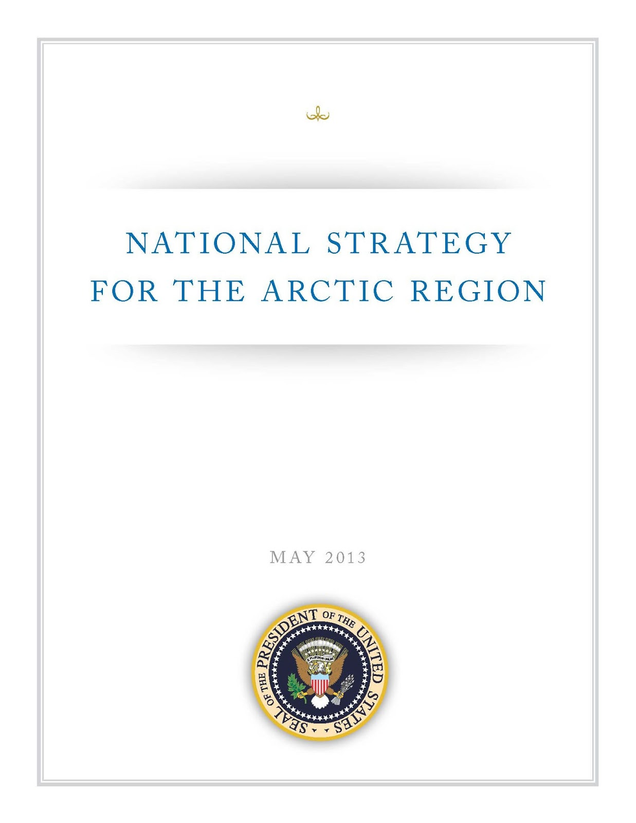 Front page of US National Strategy for the Arctic region