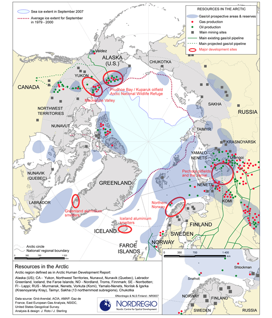 Map showing various resources located in the Arctic