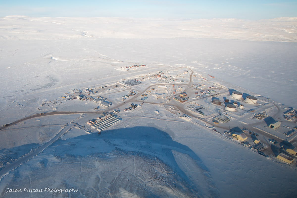 Ariel view of iron-ore mining project in Northern Canada