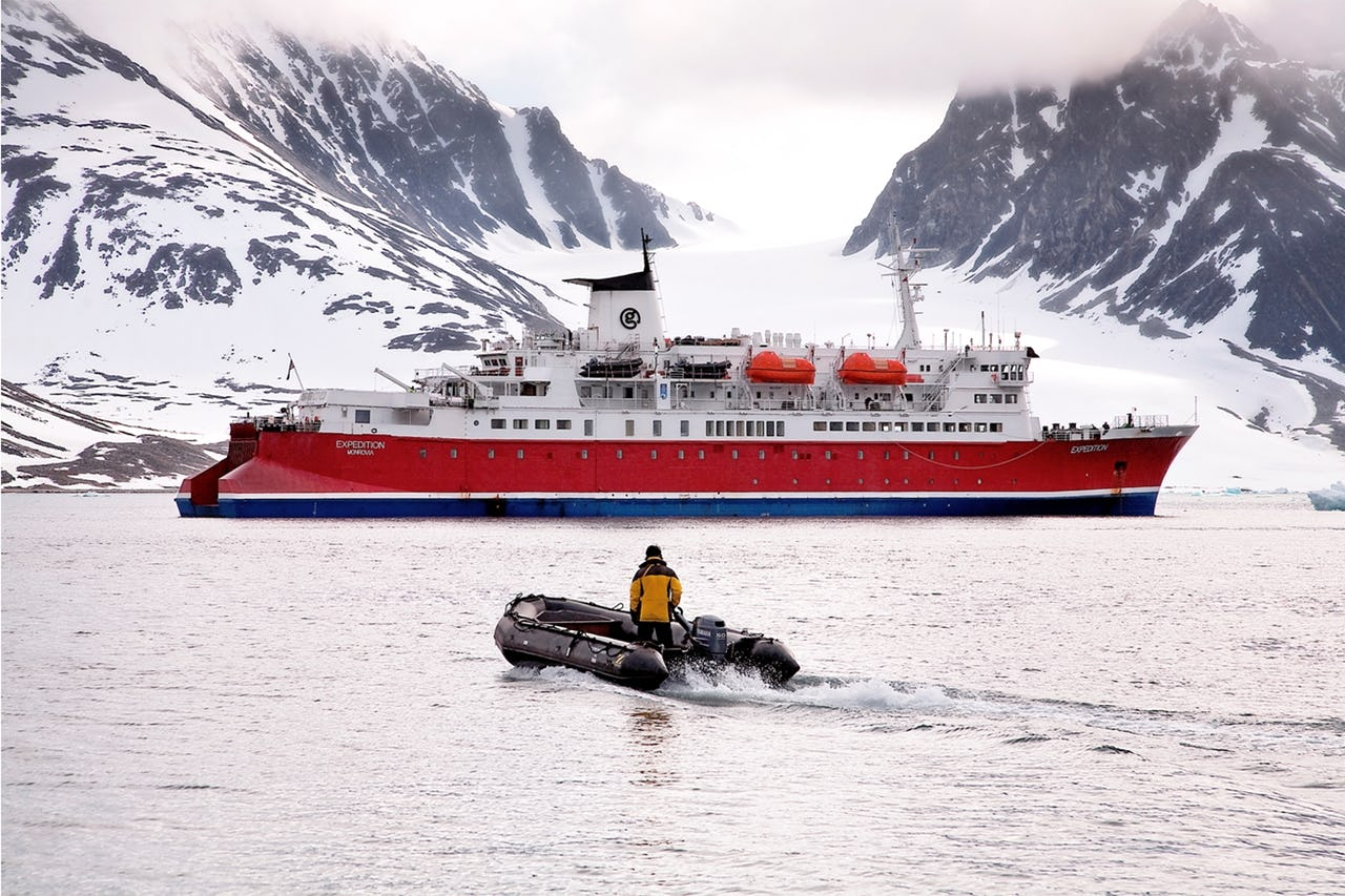 Vessel in Arctic landscape