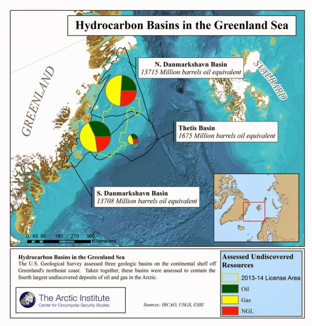 Map showing hydrocarbon basins in the Greenland Sea