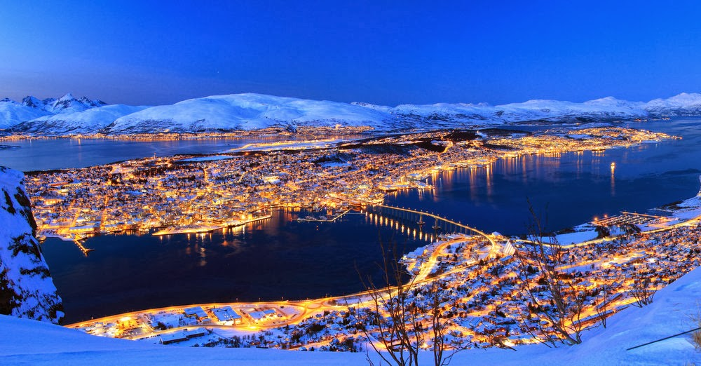 View on the city of Tromsø at night