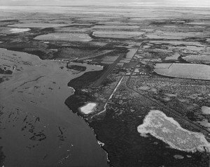 Black and white picture of Prudhoe Bay Oil Fields