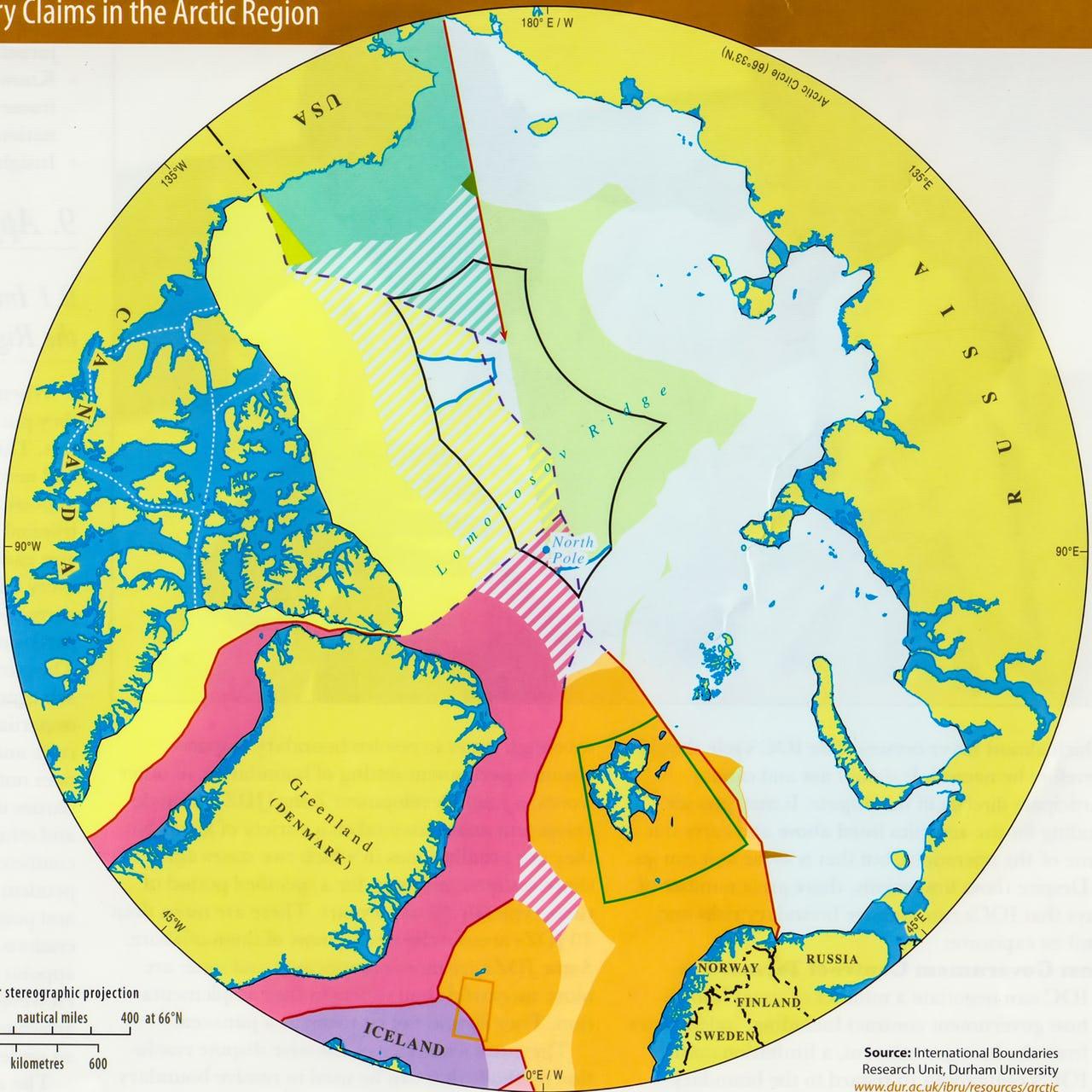 Map of Arctic region boundaries