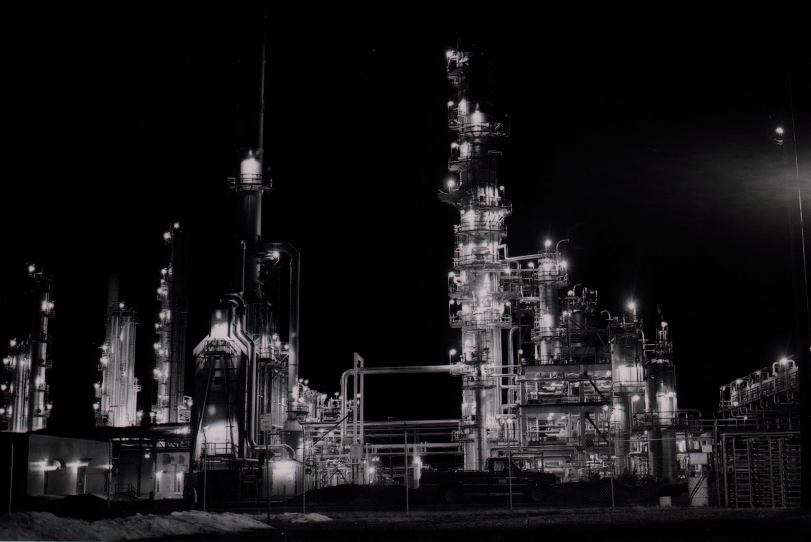 Black and white image of oil refinery