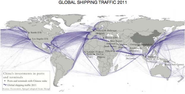Graphic showing global shipping traffic of 2011
