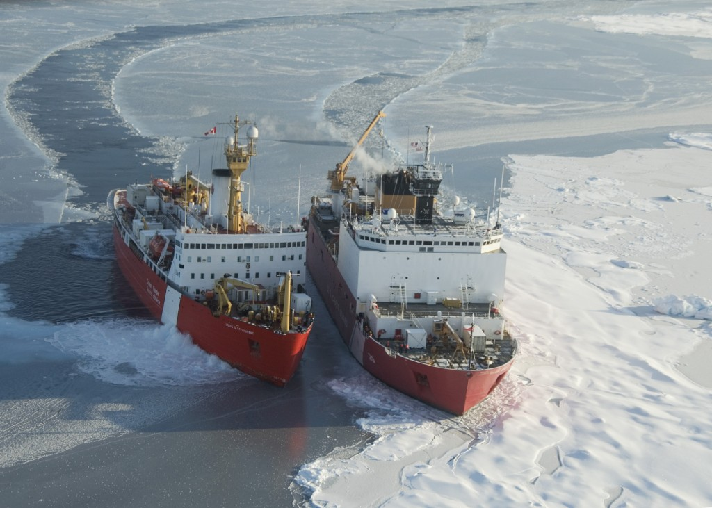 Two vessels surrounded by sea ice