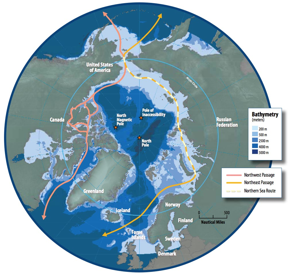 Map of the Arctic shipping routes