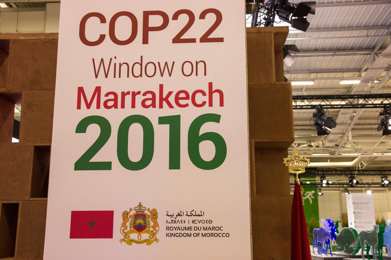 A sign at the UN Summit on Climate Change, COP22 in Marrakesh, Morocco from November 7 to November 18, 2016.