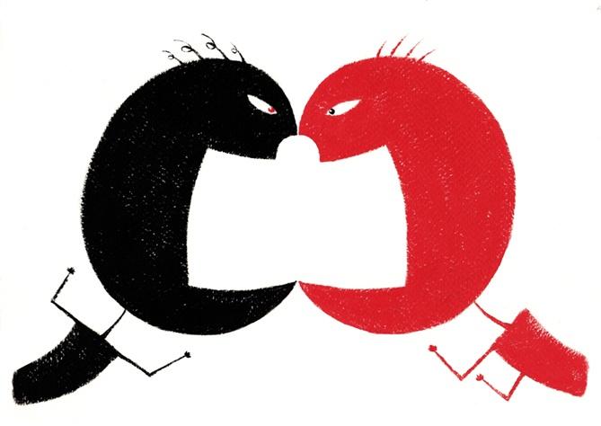 Conflict between two cartoon men