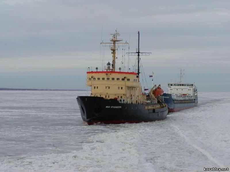 Russian icebreaker Ivan Kruzenshtern escorts a vessel