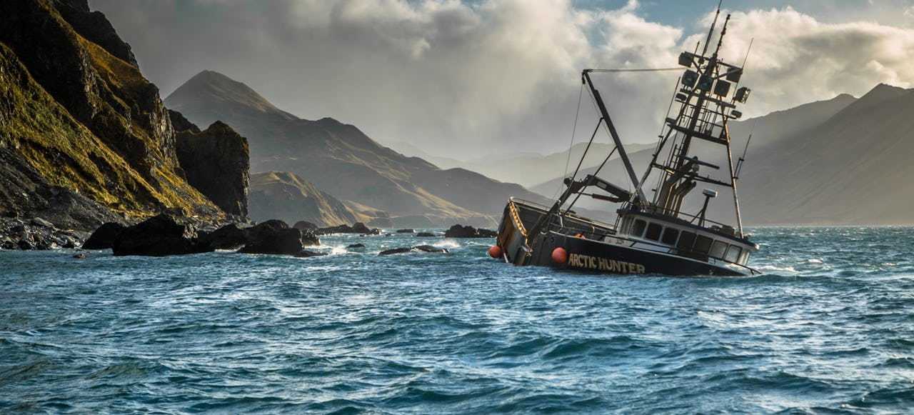 Fishing vessel 'Arctic Hunter' run aground near Unalaska, Aleutian Islands