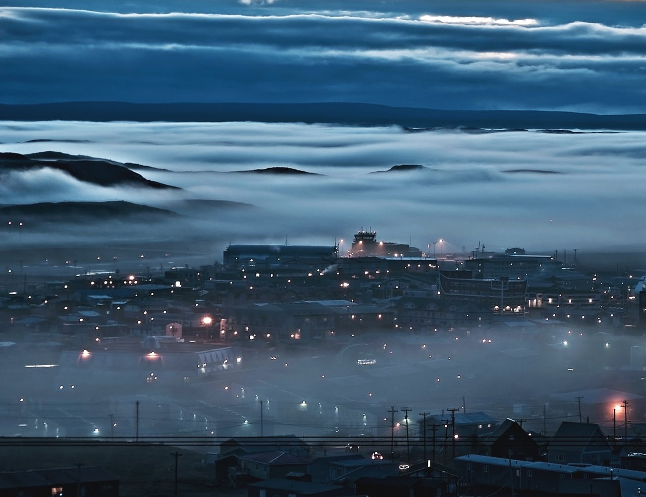Mist over Iqualuit, dark night