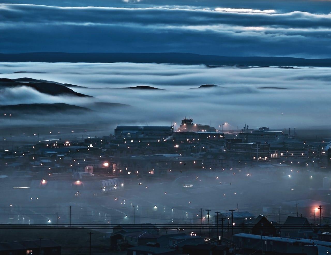 Mist over Iqualuit, dark night