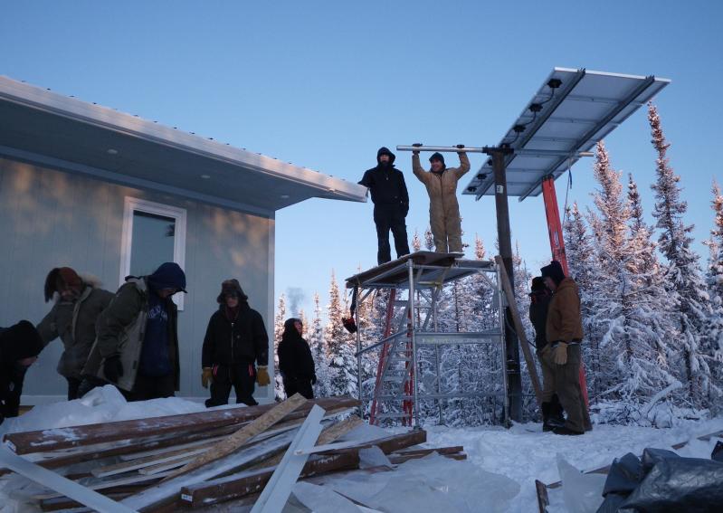 Arctic PV Install Alatna, Alaska by Susitna Energy students and IRHA