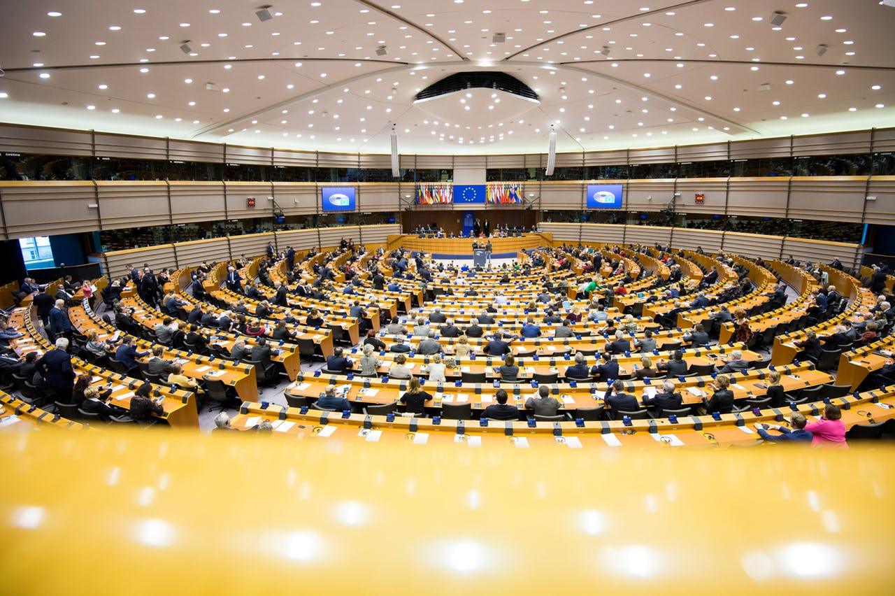 European Parliament plenary with Members of the European Parliament voting