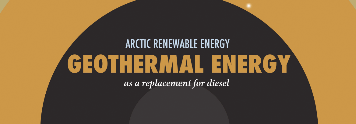 Infographic header on geothermal power in the Arctic.