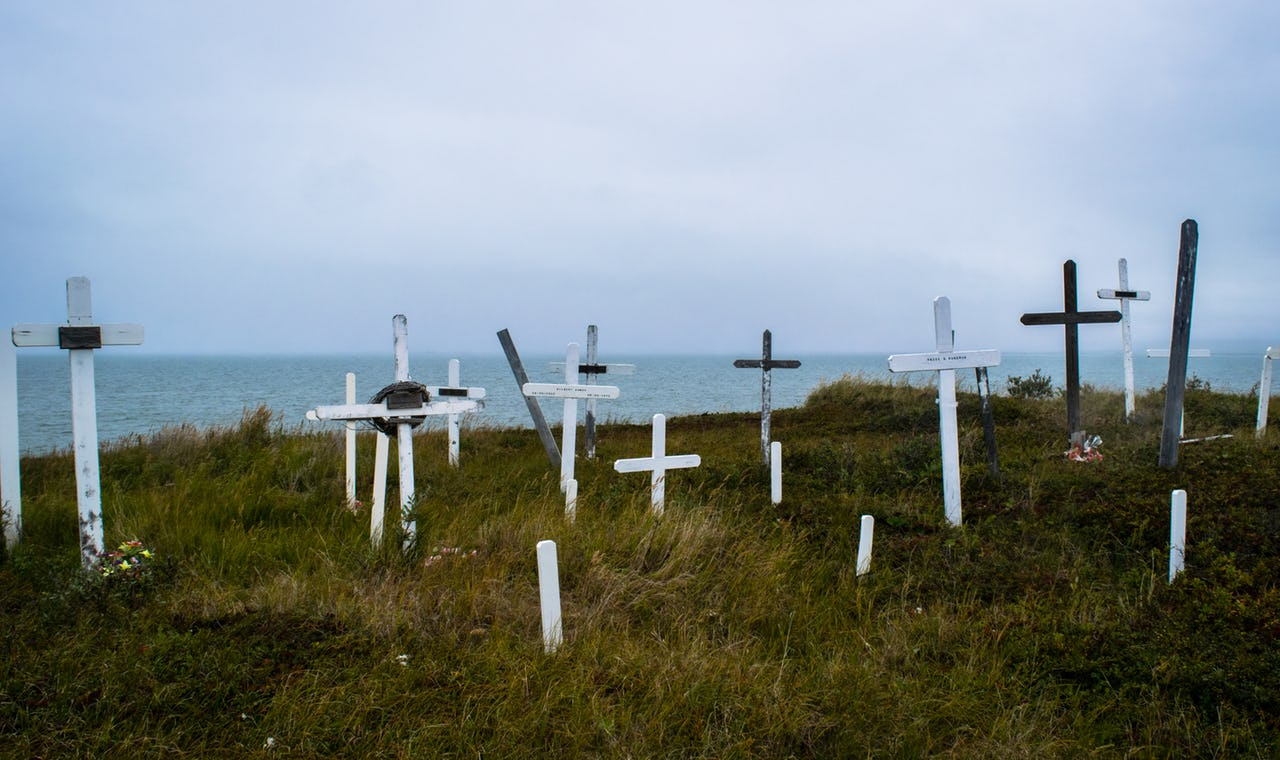 Grave crosses at a cemetery on the waterfront