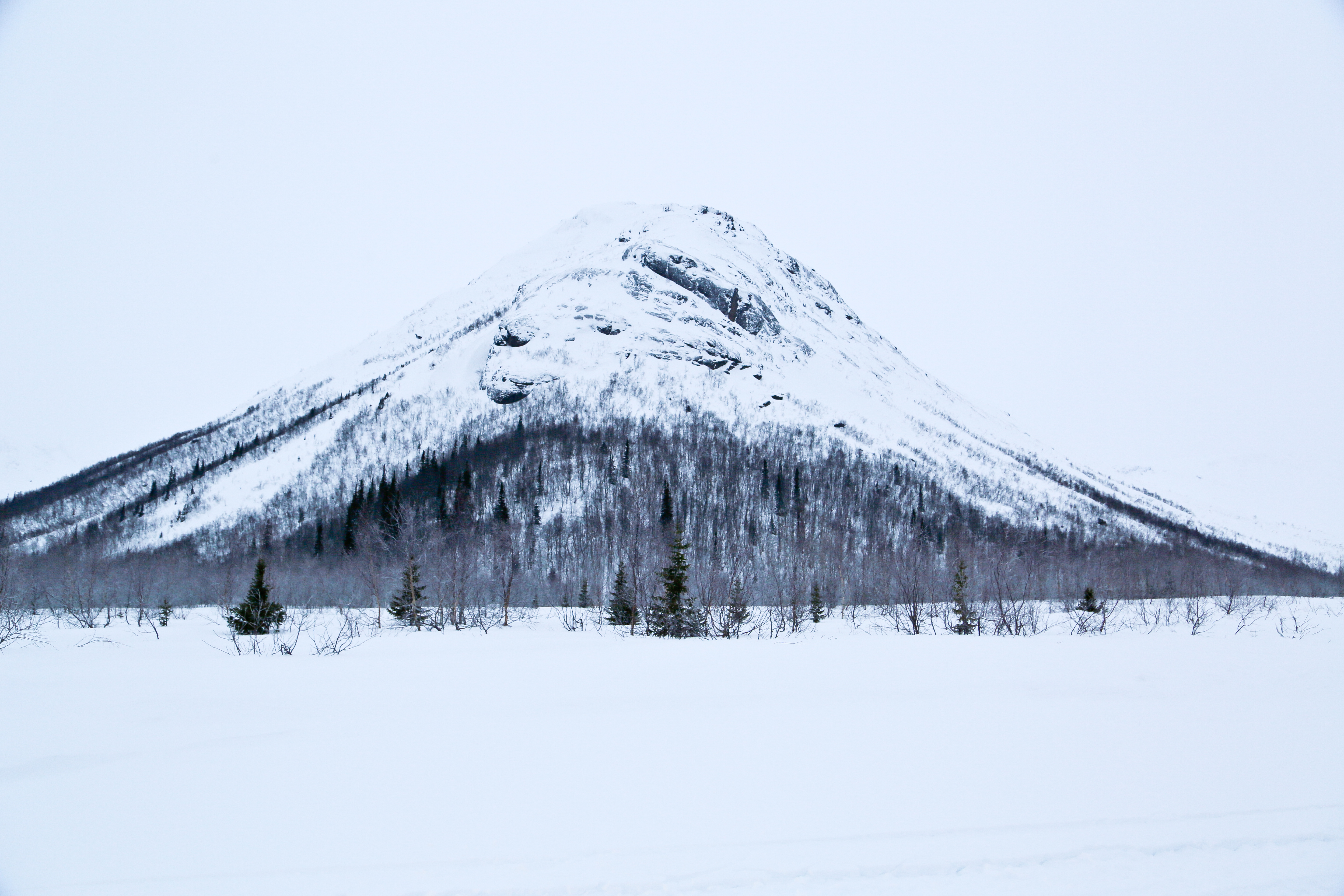 Mountain covered in snow in Russia