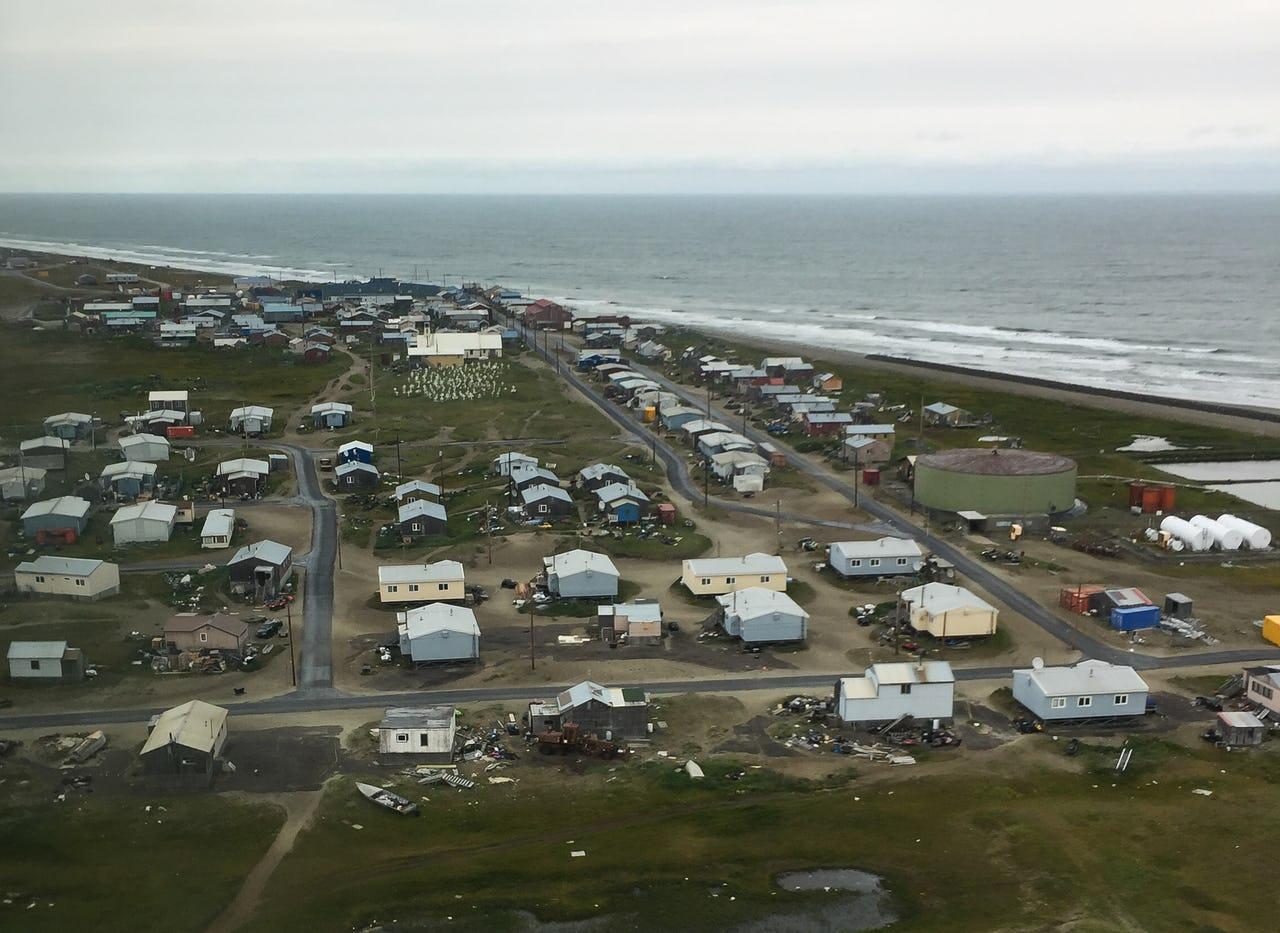 Aerial view of Shishmaref, Alaska