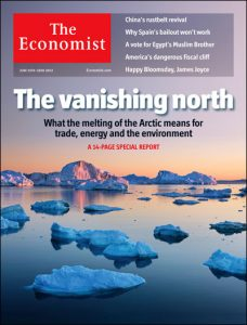 Front page showing melting ice
