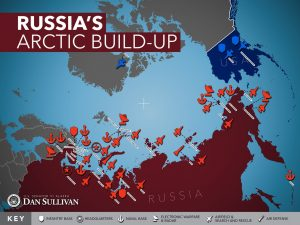 Red, blue and gray colored map showing Russian infantry bases, military headquarters, naval bases, electronic warfare and radars, airfield and search and rescue, and air defense in the Arctic. Shows American military in Alaska.