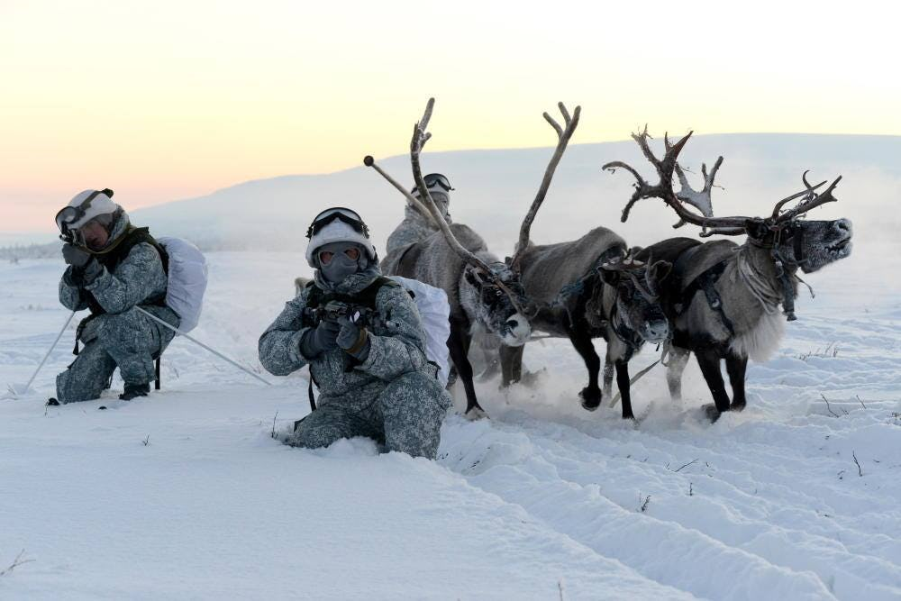 Russian Special Forces soldiers in winter camouflage pose with rifles next to three reindeer in a snowy, white, Arctic landscape.