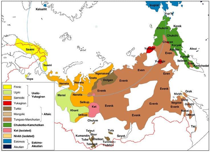 Multi-colored map of Russian North, Siberia and Far East showing Saami, Veps, Nenets, Mansi, Khant, Sekup, Ket, Enets, Nganasan, Dolgan, Evenk, Yukagir, Chuvan, Chukchi, Koryak, Inuplat, Aleut, Even Indigenous Native languages